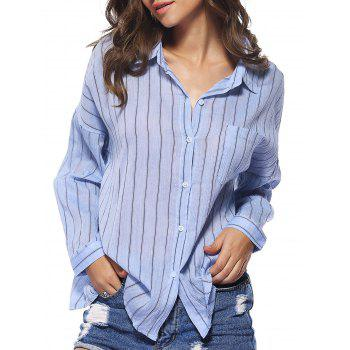 Chic Buttoned Pocket Design Striped Women's Shirt