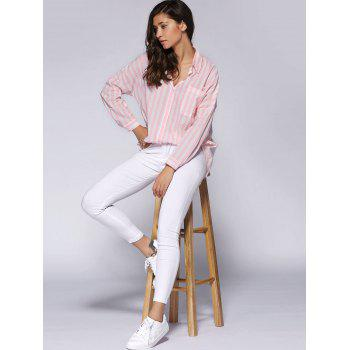 Trendy Loose-Fitting Pocket Design Striped Women's Shirt - PINK ONE SIZE