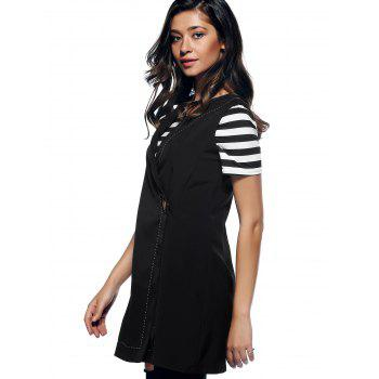 Charming V-Neck Button Design Slimming Women's Waistcoat - BLACK M