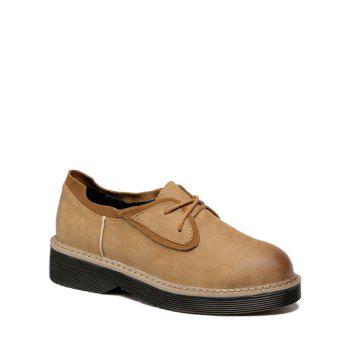 Stylish Tie Up and Splicing Design Women's Platform Shoes - LIGHT BROWN LIGHT BROWN