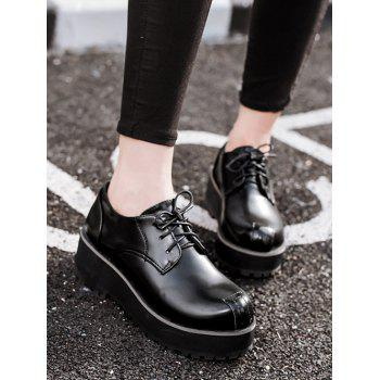 Stylish Black and Stitching Design Women's Wedge Shoes - BLACK 37