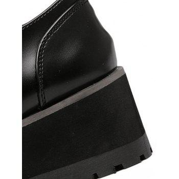 Stylish Black and Stitching Design Women's Wedge Shoes - BLACK BLACK