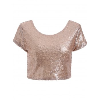Vintage Golden Color Sequins Crop Top