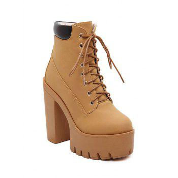 Fashionable Tie Up and Chunky Heel Design Women's Short Boots