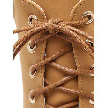 Fashionable Tie Up and Chunky Heel Design Women's Short Boots - LIGHT BROWN 38