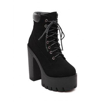 Stylish Black and Lace-Up Design Women's Short Boots