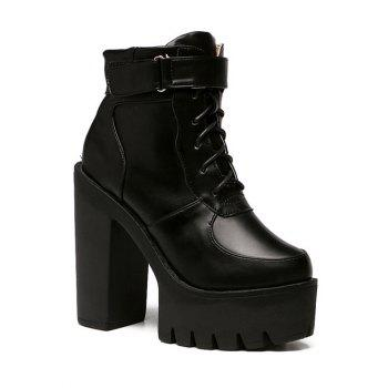 Stylish Chunky Heel and Lace-Up Design Women's Short Boots