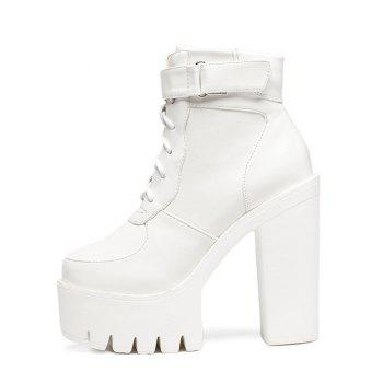 Stylish Chunky Heel and Lace-Up Design Women's Short Boots - WHITE 38