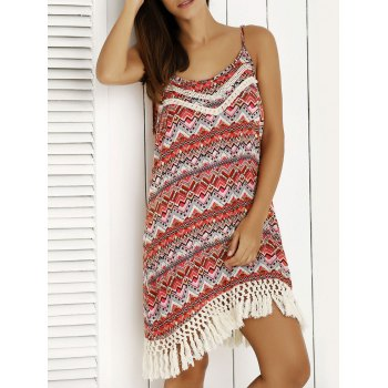 Ethnic Print Tassel Summer Cami Dress