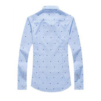 Tiny Polka Dot Print Turn-Down Collar Long Sleeves Shirt For Men - LIGHT BLUE M