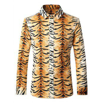Fashion Turn-Down Collar Tiger Print Long Sleeves Shirt For Men