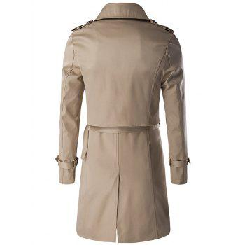 Belted Double Breast Trendy Trench Coat Twinset For Men - KHAKI 3XL