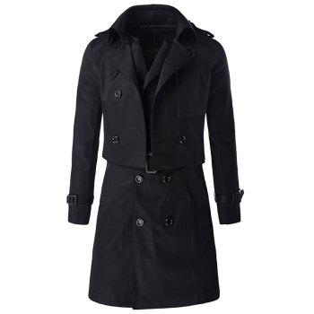 Belted Double Breast Trendy Trench Coat Twinset For Men