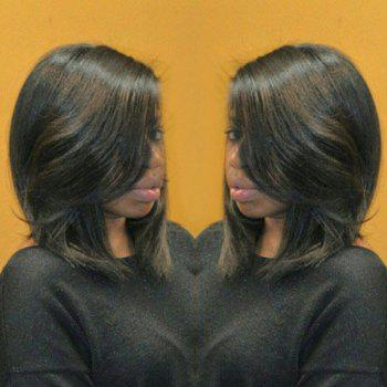 Stylish Natural Wave Medium Layered Synthetic Black Mixed Brown Capless Bob Wig For Women