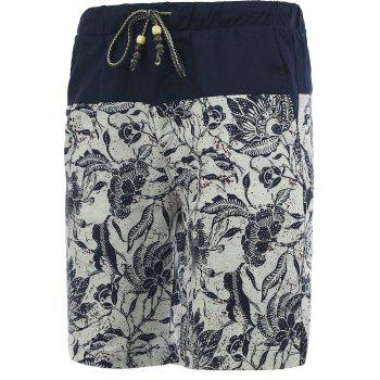 Drawstring Foral Printed Spliced Men's Board Shorts