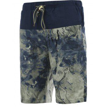 Printed Drawstring Spliced Men's Cuffed Board Shorts