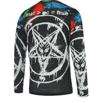 Pentacle 3D Printed Round Neck Men's Long Sleeve T-Shirt - COLORMIX 2XL