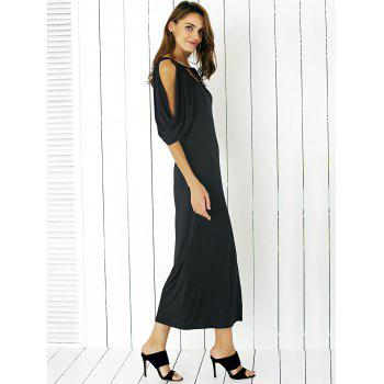 Graceful Self-Tie Bowknot Cold Shoulder Slit Front Dress For Women - BLACK BLACK