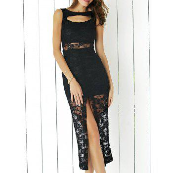 Alluring Sleeveless Cut Out Slit Sheath Lace Dress For Women