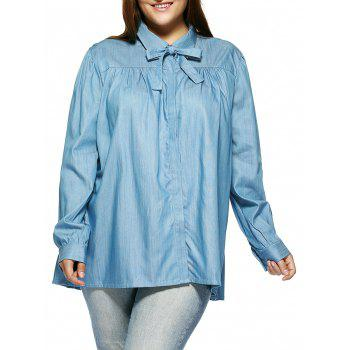 Plus Size Sweet Bow Tie Blouse
