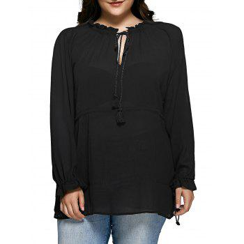 Plus Size Ruffled Collar Tie-Front Blouse