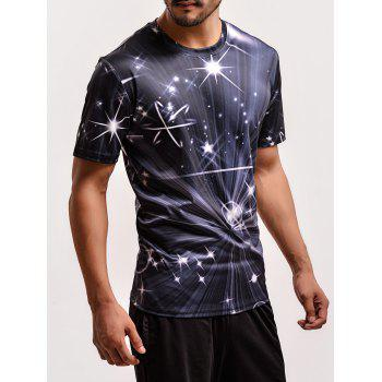Fashion The Universe 3D Print Round Neck Short Sleeves T-Shirt For Men - COLORMIX 3XL
