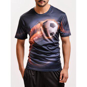 Fashion 3D Football Print Round Neck Short Sleeves T-Shirt For Men