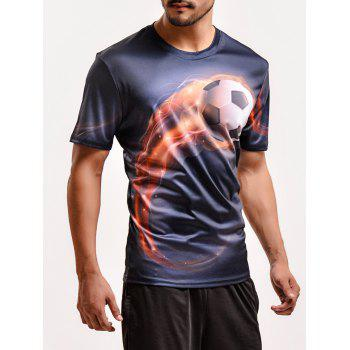 Fashion 3D Football Print Round Neck Short Sleeves T-Shirt For Men - BLACK M
