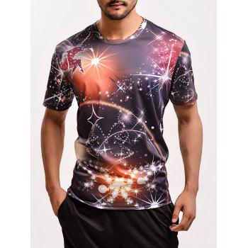 Fashion 3D Fireworks Print Round Neck Short Sleeves T-Shirt For Men