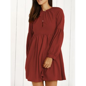 Vintage Pure Color Lantern Sleeve Mini Dress