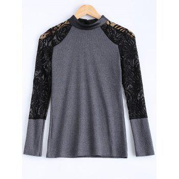 Buy Lace PU Leather Knitted Top Women GRAY