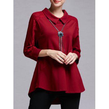 Trendy Lace Spliced Asymmetrical Women's Blouse