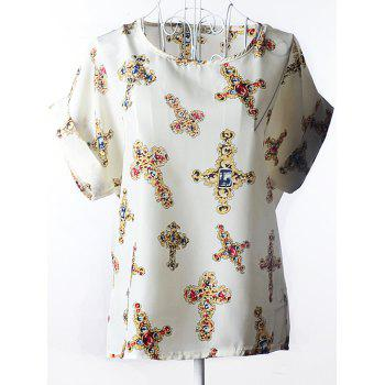Trendy Ornate Printed Chiffon Women's Blouse