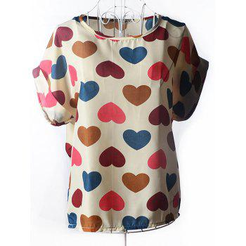 Sweet Heart Print Chiffon Women's Blouse