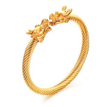 Classical Twisted Dragon Symmetry Gold Bracelet For Men