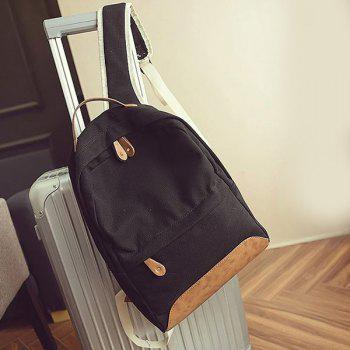 Leisure Canvas and PU Splice Design Women's Backpack -  BLACK