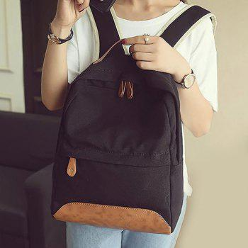 Leisure Canvas and PU Splice Design Women's Backpack - BLACK BLACK