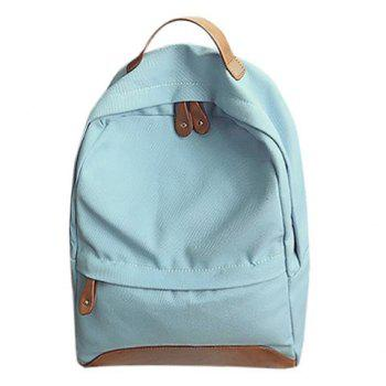 Leisure Canvas and PU Splice Design Women's Backpack -  LIGHT BLUE