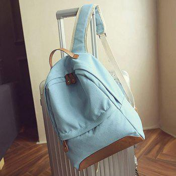 Leisure Canvas and PU Splice Design Women's Backpack - LIGHT BLUE LIGHT BLUE
