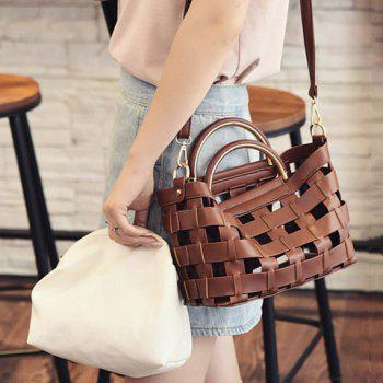 Fashionable Hollow Out and Metal Design Women's Tote Bag - BROWN