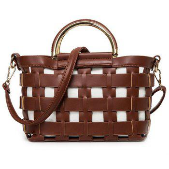 Fashionable Hollow Out and Metal Design Women's Tote Bag - BROWN BROWN