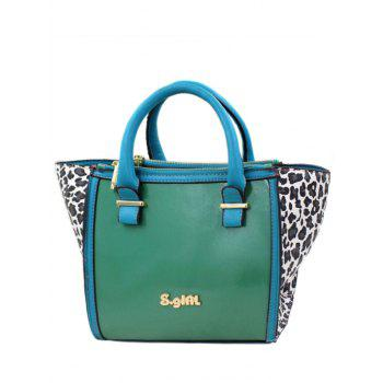 Stylish Leopard Print and Color Block Design Women's Tote Bag - GREEN GREEN