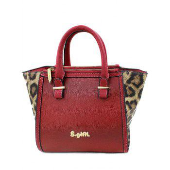 Stylish Leopard Print and Color Block Design Women's Tote Bag - RED RED
