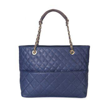 Stylish Checked Stitches and Chains Design Women's Tote Bag - SAPPHIRE BLUE SAPPHIRE BLUE