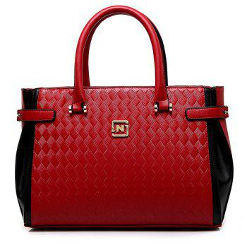 Fashionable Color Block and Woven Pattern Design Women's Tote Bag - RED RED