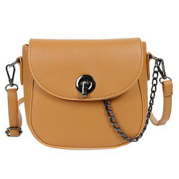 Trendy PU Leather and Chain Design Women's Crossbody Bag - EARTHY EARTHY