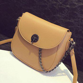 Trendy PU Leather and Chain Design Women's Crossbody Bag -  EARTHY