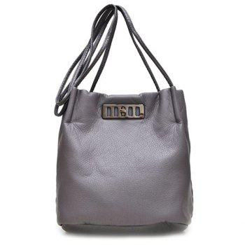 Trendy Twist-Lock Closure and Metallic Design Women's Crossbody Bag