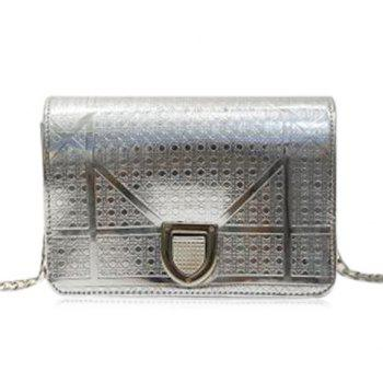Trendy Hasp and Lattice Pattern Design Women's Crossbody Bag - SILVER SILVER
