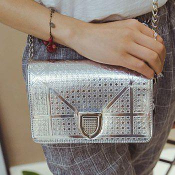 Trendy Hasp and Lattice Pattern Design Women's Crossbody Bag -  SILVER